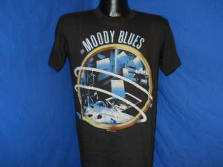vintage MOODY BLUES 80S LIVE IN CONCERT 2 SIDED BLACK SOFT THIN t