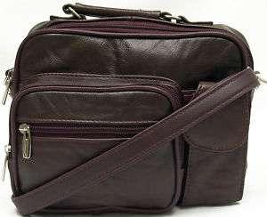 Burgundy Genuine Leather Purse Shoulder Wallet Organizer Messenger