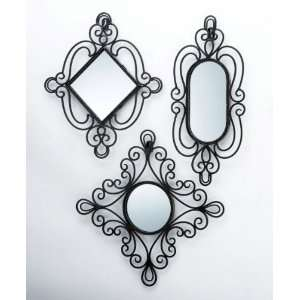 Set of 3 Assorted Wall Mounted Iron Framed Mirrors in Antique Black