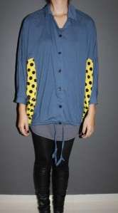 Garcons comme le fashion Oversize polka dot Side loose des jacket blue
