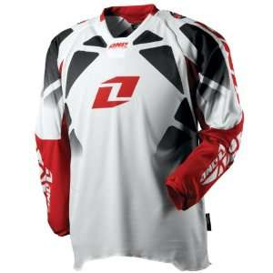 One Industries Race Mens Defcon MotoX Motorcycle Jersey   White/Red