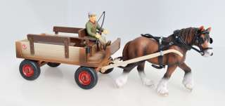 NEW SCHLEICH 72003 HORSE WAGON W. CLYDESDALE MARE & DRIVER SPECIAL