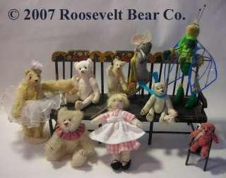 Artist Teddy + dog ROOSEVELT BEAR Co MINIATURE ~ OOAK