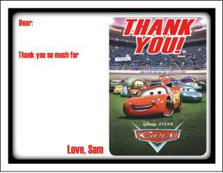 of 10 Cars Lightning McQueen Personalized Thank You Cards Notes