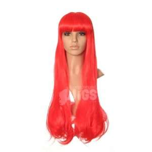 Extra Long BRIGHT RED Straight Fringe COSPLAY Wig Beauty