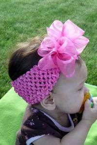 Boutique BIG Organza Hair Bow Headband BabyToddler HOT PINK
