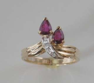 14kt Ladies Gold Ring Ruby & Diamonds Gemstone Ring