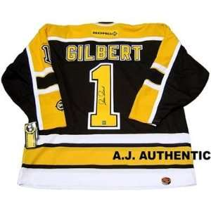 GILLES GILBERT Boston Bruins SIGNED Hockey JERSEY   Autographed NHL