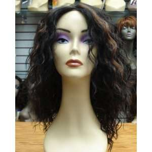 Synthetic Mono Top Lace Wigs Wild Curly 16 Inches Dark