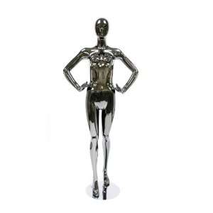 Standing Female Mannequin   Black Chrome Arts, Crafts