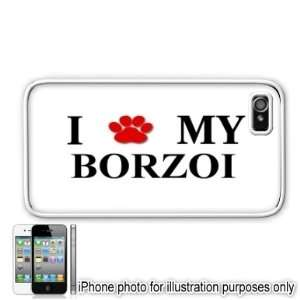 Borzoi Paw Love Dog Apple iPhone 4 4S Case Cover White