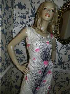 VINTAGE 70s CREAM/BLACK/PINK PEACOCK FEATHER PRINT SILK DRESS 14