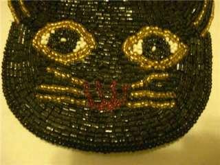 Beaded Cat Coin Purse Black Cat Handle Zippered Cute