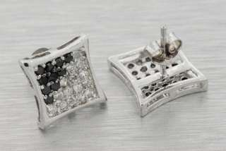 925 STERLING SILVER PAVE BLACK WHITE SIMULATED LAB DIAMOND EARRINGS