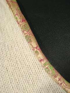 Jill L Cream V neck Patchwork Trim Wool Blend Sweater Knit Top