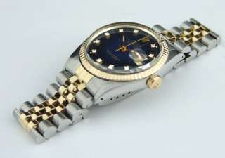WATCHCHEST® Rolex Mens Gold Datejust 16013 Blue Diamond
