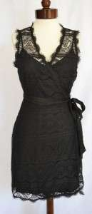 Bob Cotton Lace Wrap Dress M 8 10 UK 12 14 NWT Black With Jersey Slip