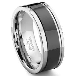Black Tungsten Carbide Two Tone Wedding Band Ring w/ Grooves Sz 11.5