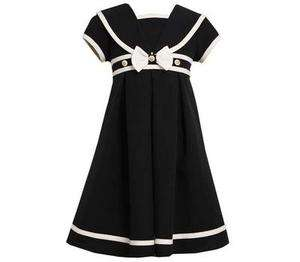 Bonnie Jean Girls Spring Summer Navy Nautical Sailor Poplin Dress 6