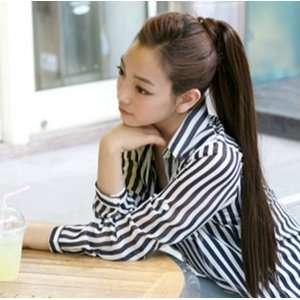 Long Hair Wig With Belt   Black/Dark Brown/Light Brown