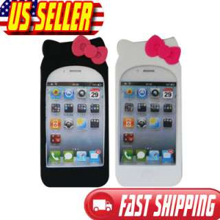 Kitty Silicone Soft Case Cover with 2 bow knots For iPhone 4 4G