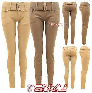 WOMENS SKINNY BELTED JEANS TROUSERS SLIM LOOK PANTS SIZE 6 8 10 12 14