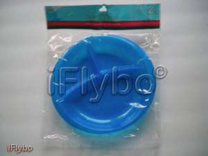 2pk Plastic Divided Plates with design BLUE BPA FREE