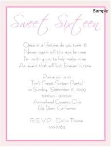 20 Personalized SWEET 16 SIXTEEN Birthday Invitations