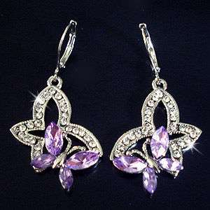 Swarovski Crystal Purple Butterfly 18k Platinum Plated Elegant Earring