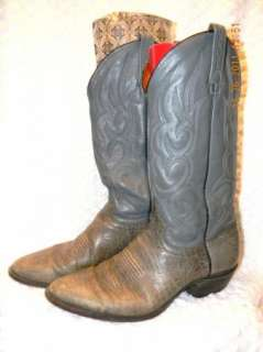 MENS J CHISHOLM GREY LEATHER WESTERN BOOTS SIZE 10.5 B