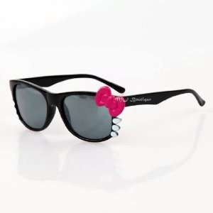 Cute Kitty Bow Wayfarer Sunglasses   Black & Hot Pink Bow