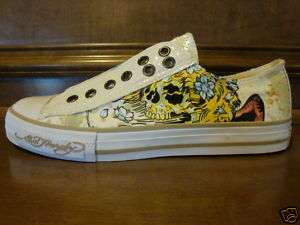 New Womens ED HARDY BRIXTON Off White Low Rise Sneaker