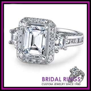 50 ct Emerald Cut Diamond Engagement Ring Platinum