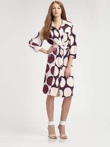 DIANE von FURSTENBERG Sophie Printed Button down front Silk Belt Dress