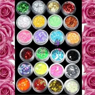 Mix Nail Art Glitter Powder Dust Rhinestone Decoration+2 Rolls