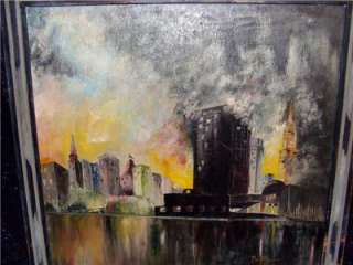 ANTIQUE~VINTAGE NEW YORK IMPRESSIONIST OIL PAINTING 60