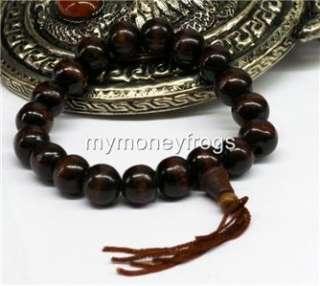 Tibet Buddhist Brown Wood Mala Bracelet Prayer Bead #DS