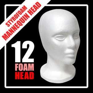 12 Styrofoam Mannequin Wig Head Display Hat Cap Wig Holder White Foam