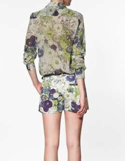 2012 SPRING COLLECTION BEAUTIFUL ZARA FLORAL PRINT BLOUSE SHIRT TOP XS
