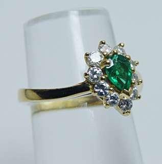 Vintage Designer High Quality Emerald VVS FG Diamond 18K Gold Ring