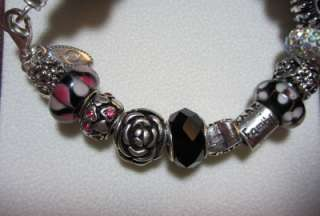 Pandora Bracelet 21 murano beads & charms Live Love Laugh black pink