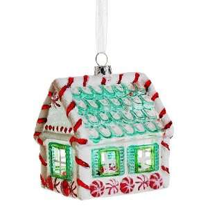 3.5 Glass Candy House Ornament Red White (Pack of 6) Home