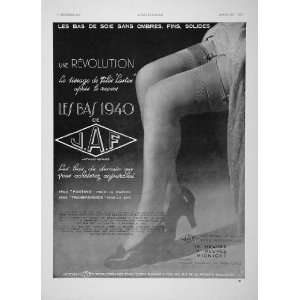 1936 French B/W Print Ad JAF Nylon Stockings Garters