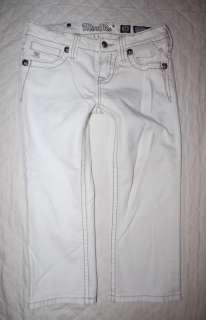 Girls MISS ME JEANS 14 Cuff capri white english crop rhinestone