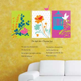 Flower Squares & Love Poem Wall Decor Art Sticker Decal