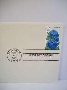 1995 Fall Garden Flowers Hydrangea FDC 22K Gold Stamp