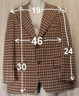 Vintage MOD Brown White Poly PLAID 1970s Sportcoat! 46
