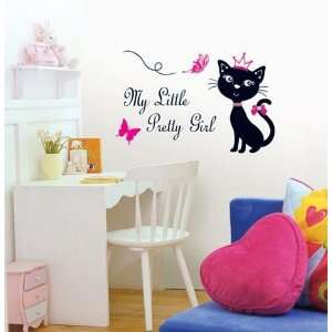 PRETTY CAT DECOR MURAL ART WALL PAPER STICKER SWST 08
