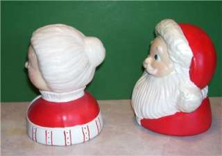 CERAMIC MR & MRS SANTA CLAUS CHRISTMAS TABLE DECORATION