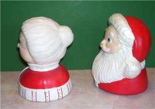 CERAMIC MR & MRS SANTA CLAUS CHRISTMAS TABLE DECORATION